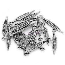 Wholesale 50 Pcs Tibetan Silver Long Feather Leaf Shape Charms Pendants Findings