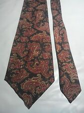 Hardy Amies Men's Vintage Tie in a Brown Red and Gold Paisley Pattern
