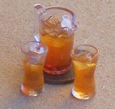 1:12 Jug Of Orange Juice & 2 Glasses Dolls House Miniature Drink Accessory JD2