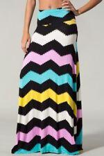 New Black Multi Colored Chevron Print Maxi Skirt Size Small
