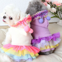 Winter Dog Wedding Dress Warm Puppy Cat Clothing Small Pet Costume Coat Hoodie