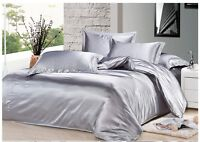 HOTEL COLLECTION 1000TC SATIN SILK LIGHT GRAY SOLID CHOOSE SIZE & BEDDING SHEET