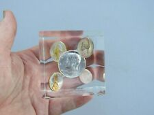 1964 US Coins Proof Set In Lucite Acrylic Cube, 2.5 INCHES, Cube Paperweight