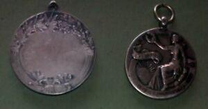 Lotto n. 2 Medaglie d'argento inglese sportive Metà '800 diam. 3,5 x 2,5 cm (H51