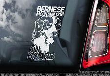 Bernese Mountain Dog - Car Window Sticker - Berner Sennenhund Dog on Board Sign