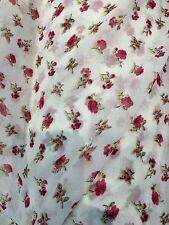 "Vintage Floral Rose Printed GEORGETTE Skirt Fabric Clothing 58"" Width Red/White"