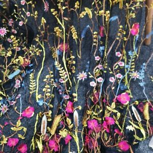 Multi-color Embroidery Lace Fabric Sold By The Yard Floral Flower On Black Mesh