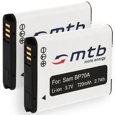 2 Akkus EA-BP70A BP-70A für Samsung PL20, PL80, PL90, PL100, PL120, PL170, PL200