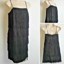 Vintage NEXT Black Flapper 20's Gatsby Fringe Strappy Hen Party Dress 3 size 10