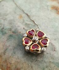 8ct White & Yellow Gold Flower Necklace with Ruby & Diamonds 1.30cts