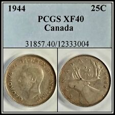 1944 Canada 25 Cents PCGS XF40 Extra Fine EF Quarter Dollar Toned Silver Coin