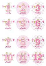 bébé événement marquant stickers 60mm de diamètre,12 par paquet,1-12 mois rose