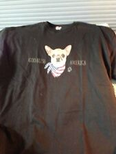"""NOS HANES AUTHENTIC CASUAL CHIHUAHUA BLACK T-SHIRT """"GOD BLESS AMERICA"""" SIZE 2XL"""
