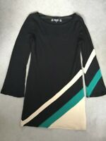 PRINCIPLES - BLACK STRETCH DRESS WITH LONG SLEEVES & DIAGONAL COLOURS ON LEFT -8