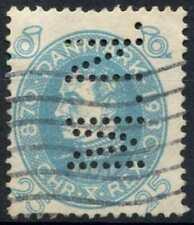 """Denmark 1930 SG#261, 25ore Light Blue, """"M.N."""" Perfin Used #D90912"""
