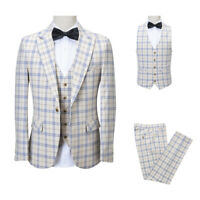 Men Beige Suit Plaid Vintage Groom Tuxedo Formal Wedding Prom Party Dinner Suit