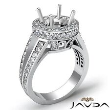 Platinum 2Ct Split Shank Diamond Engagement Halo Filigree Ring Round Semi Mount