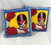 2 Power Rangers Pillows Time Force Red Ranger Yellow Red Blue