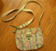 Coach Poppy Daisy Madras Plaid Crossbody Handbag Purse Pastel Gold