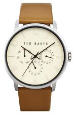 Mens Ted Baker 10029569 Multifunction Leather Strap Watch 42mm New In Box