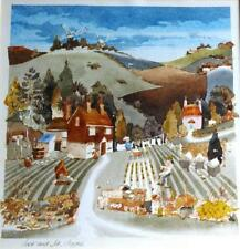 "C J Archer watercolour garden scene ""Jack and Jill Clayton"" labels verso"