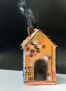 Handmade House Smoke Incense Burner Censer Cone Holder on MDF and Canvas by LISA