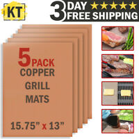 Copper Grill Mats Non Stick BBQ Cooking Sheet Bake Pad Kitchen Reusable Liner x5