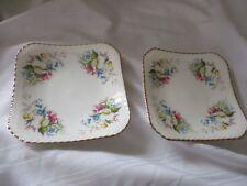 Royal Doulton 2 pin trinket teabag coaster square dish flowers gold pink blue