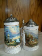 (U) 2 Thomas Kinkade Steins, A Light in the Storm Light House & Perfect Day