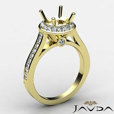 Diamond Engagement Ring 14k Yellow Gold 0.7Ct Round Semi Mount Halo Pave Set