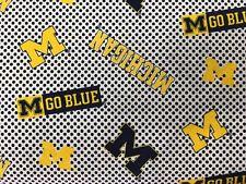 "MICHIGAN UNIVERSITY OF MICHIGAN 45"" Cotton Fabric Half Yard Sykel Enterprises CK"
