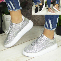 Womens Ladies Glitter Trainers Sneakers Jogging Plimsole Lace Up Gym Pumps Shoes