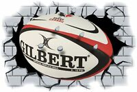 Huge 3D Rugby Ball Crashing through wall View Wall Sticker Mural Decal Film 101