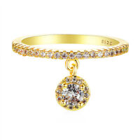 925 Silver/Rose/Yellow Gold AAA Zircon Eternity Rings Round Sapphire Drop Rings