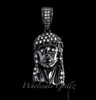MICRO Jesus Piece Mini Pendant 14k Black Gold gp White Simulate Diamond Hip Hop!