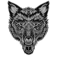 VEGASBEE® BIG LONE WOLF HEAD BLACK-GRAY EMBROIDERED IRON-ON PATCH BIKER VEST 12""