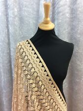 CHAMPAGNE GUIPURE LACE WITH DOUBLE EDGED BORDER  (A12)