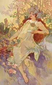 Beautiful Redhead, Grapes, Autum Flowers by Alphonse Mucha