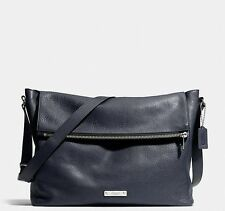 NWT COACH THOMPSON ZIP TOP MESSENGER IN LEATHER SILVER NAVY F71236