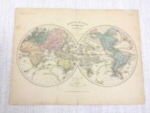 1877 Antique World Map Western Eastern Hemisphere Globe Hand Coloured French