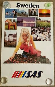Early 1980s SAS Scandinavian Airlines Poster Refreshing Sweden - SAS Country