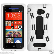 HTC Windows Phone 8X S ARMOR HYBRID CASE SKIN COVER w/ STAND WHITE BLACK