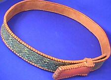Vintage Ladies Snakeskin Leather Brown Belt Sz 31 Excellent Condition
