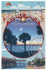 Myrtle Beach South Carolina Montage, Ferris Wheel Moon Pier etc. Modern Postcard