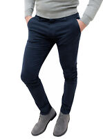 Pantaloni uomo invernali blu scuro slim fit aderenti casual eleganti da 42 a 60