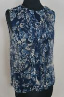 NEW 4 Love & Liberty Johnny Was Blue Floral Print Silk Ruffle Tank Blouse Top S