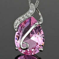 Fashion Jewelry Gift Pink Sapphire White Gold Gp Pendant Necklace Chain