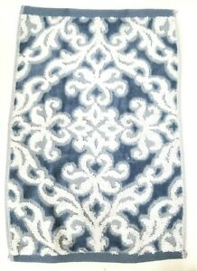 TAHARI DENIM BLUE & WHITE SWIRL PATTERN COTTON BATH,2 HAND TOWEL,OR 2 FINGERTIP