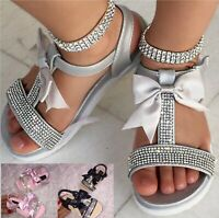 KIDS GIRLS CHILDREN INFANTS DIAMANTE BOW FLAT SUMMER HOILDAY STRAP SANDALS SHOES