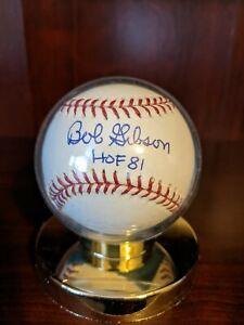 Bob Gibson HOF 81 Signed Autographed OML Baseball Cardinals Treat COA with Case